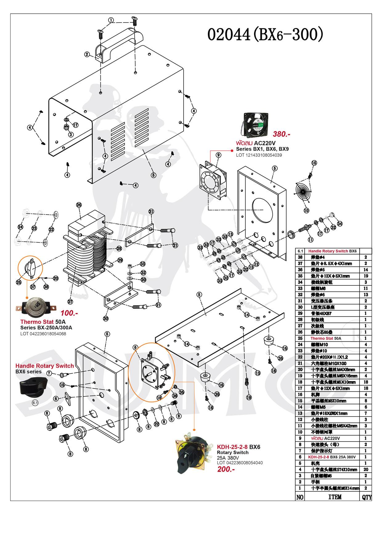 เครื่องเชื่อมไฟฟ้า - Welding Machine BX6-200 Series
