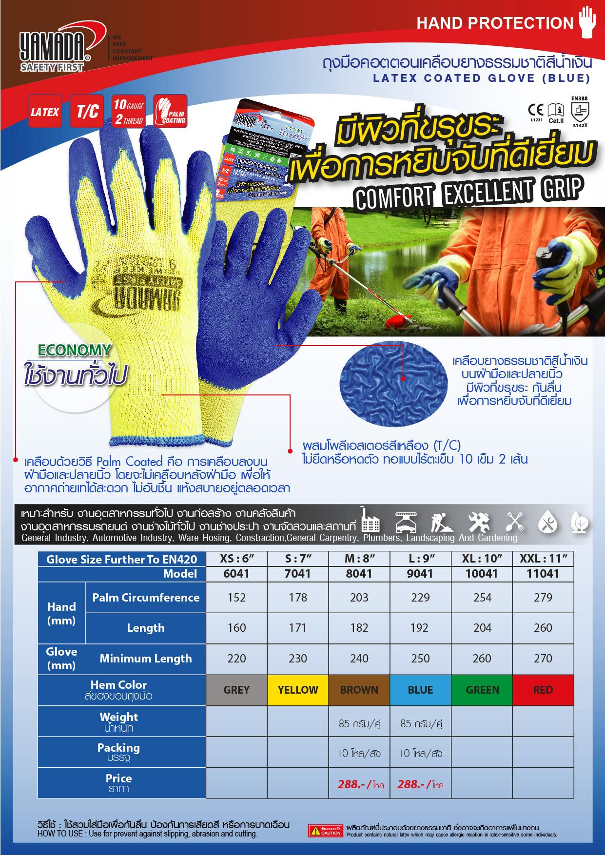 (139/271) ถุงมือคอตตอนเคลือบยางธรรมชาติสีน้ำเงิน