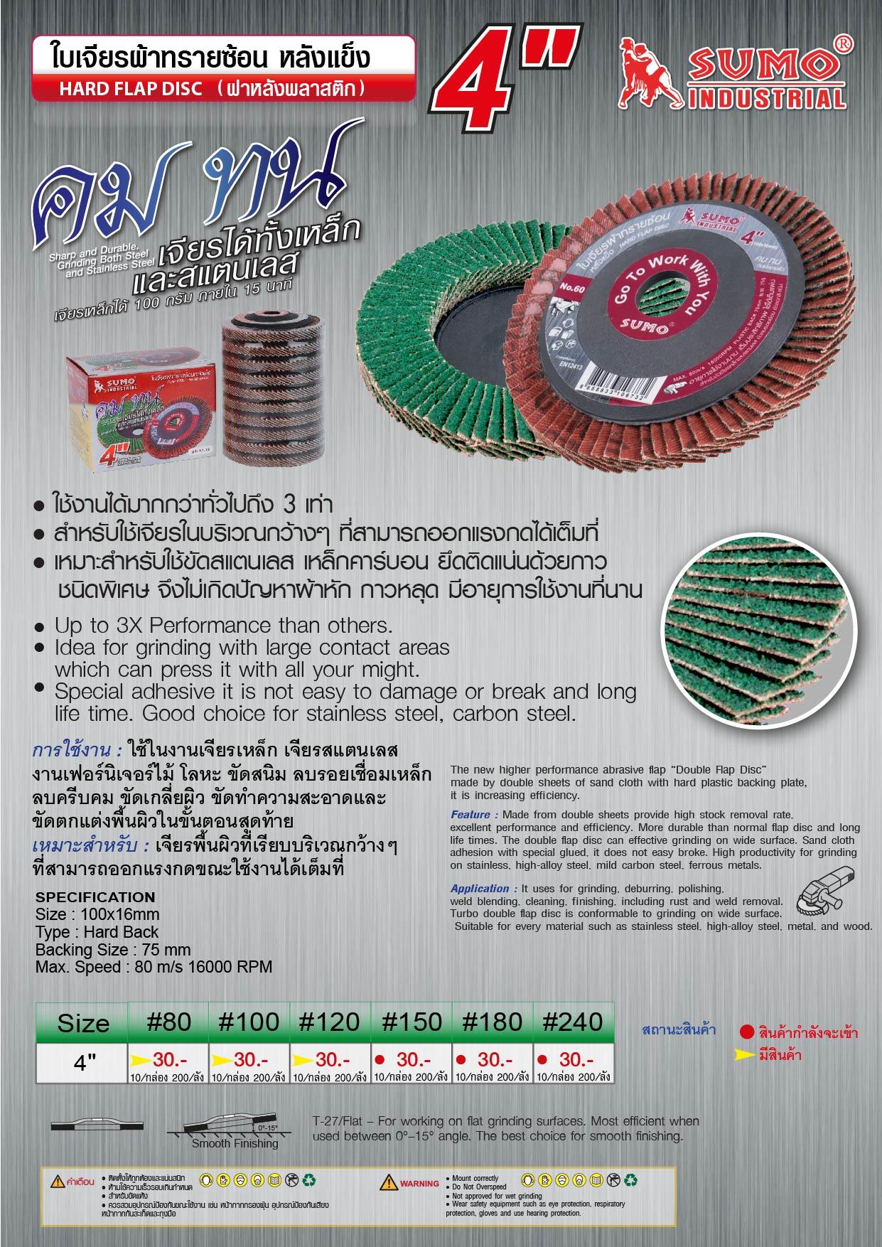 (74/146) ใบเจียรผ้าทรายซ้อน หลังแข็ง -  Hand flap disc