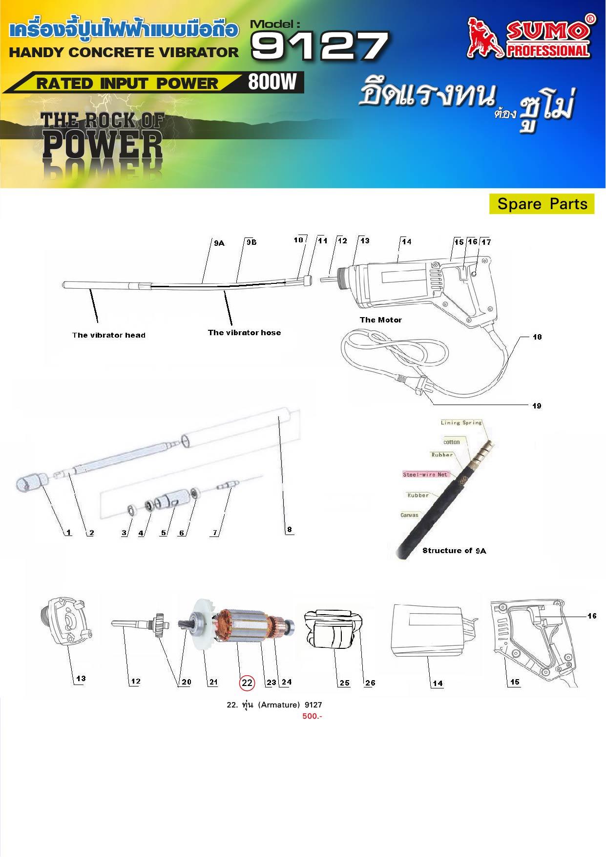 (2/9) เครื่องจี้ปูนไฟฟ้า 9127