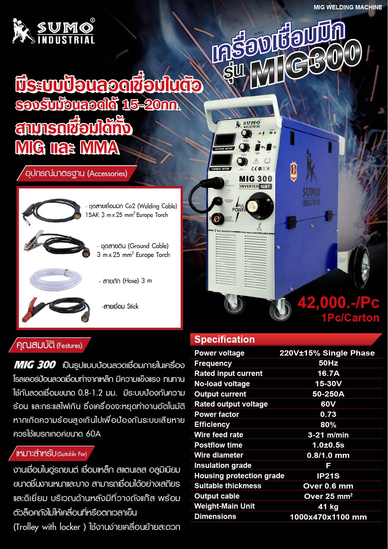(8/19) เครื่องเชื่อม MIG300  Accessories Co2