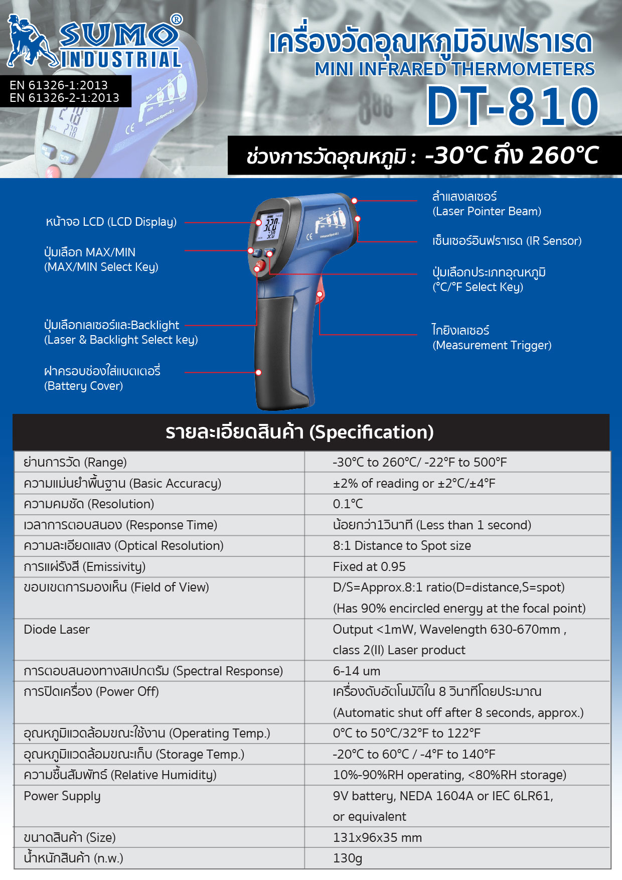 (83/188) เครื่องวัดอุณหภูมิอินฟราเรด รุ่น DT-810 - Mini Infrared Thermometer