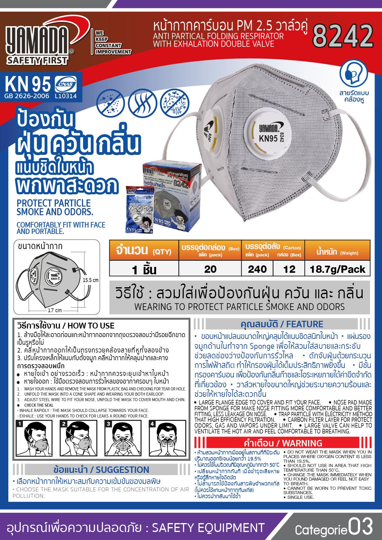 (13/15) หน้ากากคาร์บอน PM2.5 รุ่น 8242