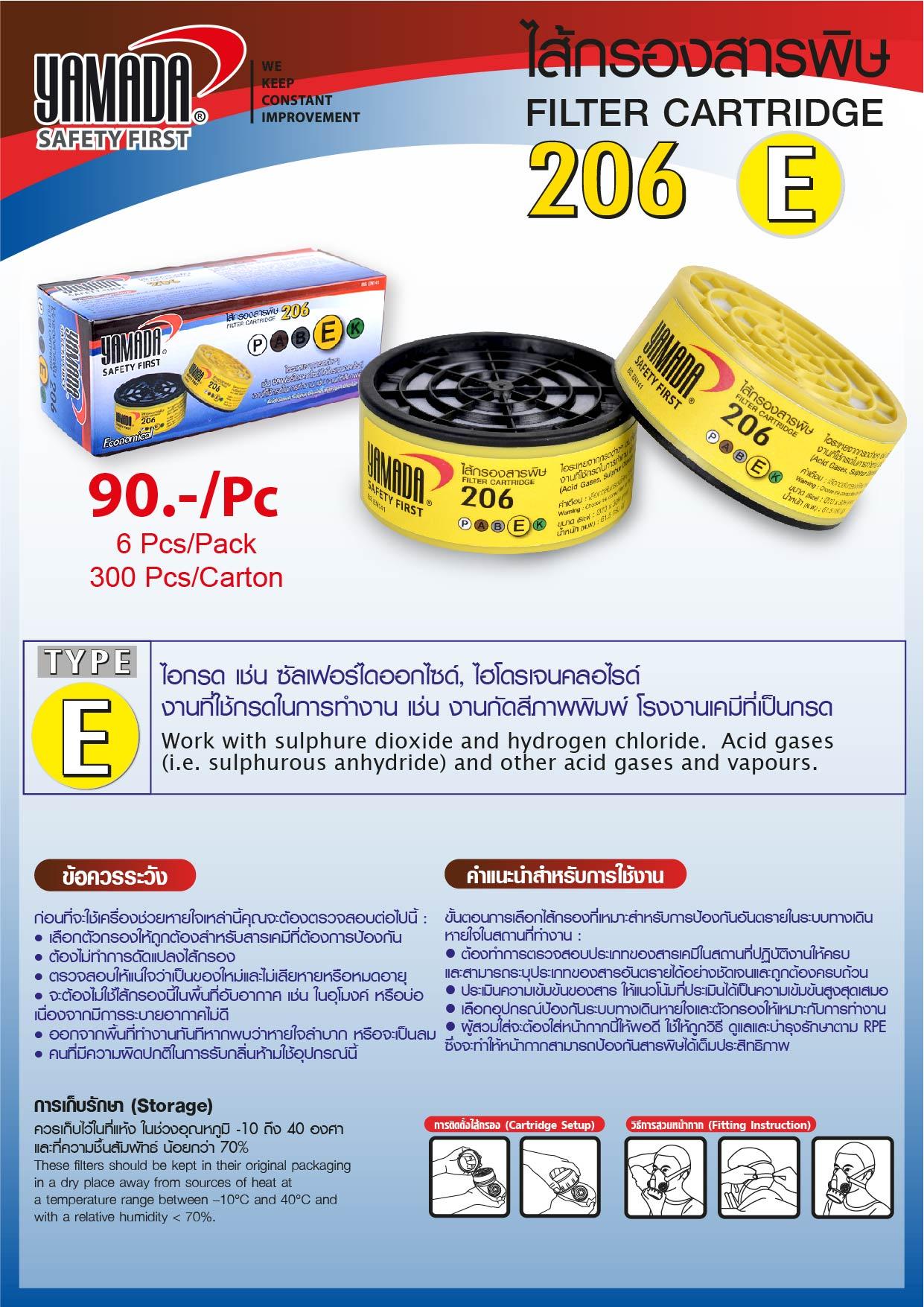 (68/278) ไส้กรองสารพิษ 206 TYPE E / Filter Cartridge