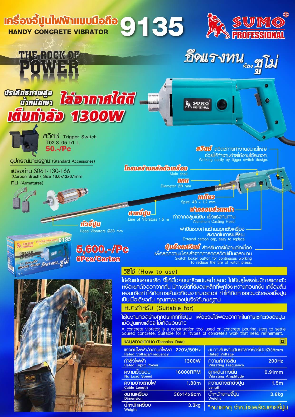 (128/390) เครื่องจี้ปูนไฟฟ้าแบบมือถือ 9135